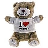 Multifanshop Kuscheltier Bär Classic I Love Bremen beige - Stofftier Püschtier Schmusetier