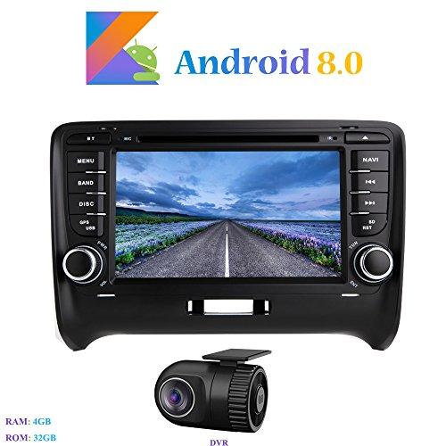 "Hi-azul Android 8.0 Car Autoradio, 2 Din Car Radio 7"" Autonavigation Kopfeinheit 8-Core RAM 4G ROM 32G Car Audio mit DVD Player Moniceiver für Audi TT (2006-2015) (mit DVR)"