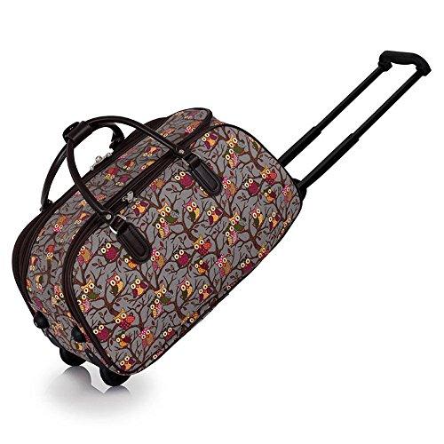 ladies-travel-holdall-bags-hand-luggage-womens-horse-printweekend-wheeled-trolley-handbag-a-grey