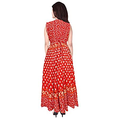 Women's Long Midi Dress Jaipuri Animal Print Cotton Maxi (Multicolor, up to XXL,Free Size)
