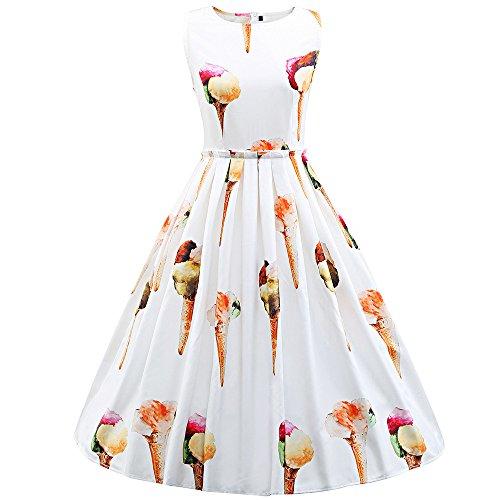 (IMJONO Frauen Kleid Dress Sommer Größe Frauen Ärmellos Rundhalsausschnitt LCE Creme Retro Print Kleid WH/M(Medium,Weiß))