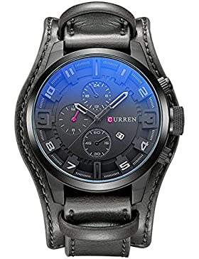 XLORDX Curren Herren Armbanduhr Chronograph Datum Blau Glas Leder Schwarz Quarz Analog Sportuhr Schwarz