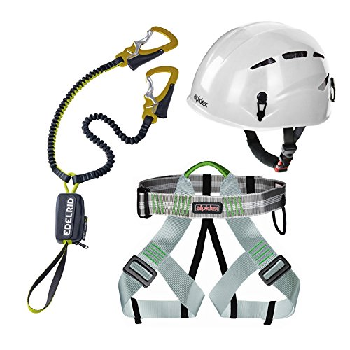 Alpidex Casco de escalada ARGALI Bright White + Alpidex Arnés universal TRAD TAIPAN + Edelrid Set Via Ferrata Cable Kit 4.3