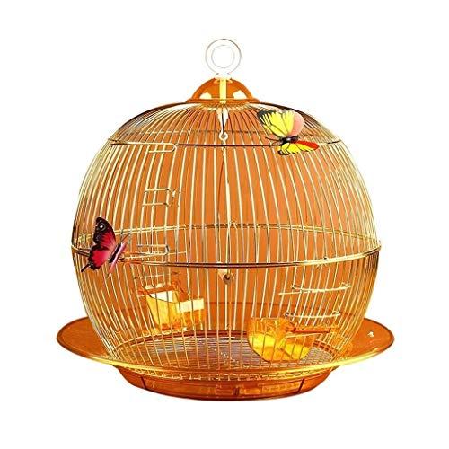 Runde Metall Vogelkäfige Birds House 38x38CM Wellensittich Vogelkäfig Finch Canary Bird Home Pet Käfige, Gold -