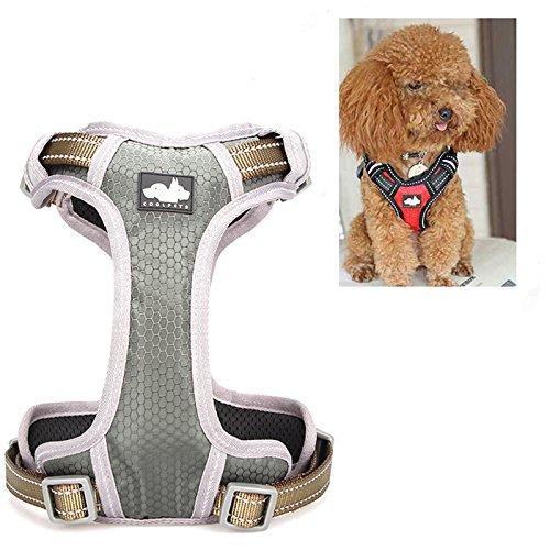 LaDicha Nylon Hundegeschirr Kette Vest Typ Mesh Pet Leash Atmungsaktiv Einstellbar S M L XL - M - Dunkelgrün