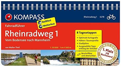 KOMPASS Fahrradführer Rheinradweg 1, vom Bodensee nach Mannheim: Fahrradführer mit Routenkarten im optimalen Maßstab.