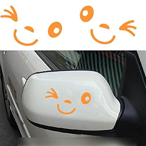 (Tuqiang® Nettes Lächeln Gesicht 3D Aufkleber Aufkleber für Auto Auto Außenspiegel L + R Rück Car Stickers (Gelb))