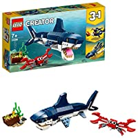 LEGO 31088 Creator 3in1 Deep Sea Creatures Shark, Crab and Squid or Angler Fish, Seaside Adventures Building Set, Toys for Kids 7 Years Old and Older