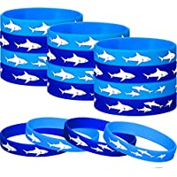 meekoo 48 Piezas Tiburón Juego de Pulsera de Silicona Pulsera de Goma Moda de Goma de Silicona Fiesta de Cumpleaños Favorece Suministros Decoraciones de Regalo