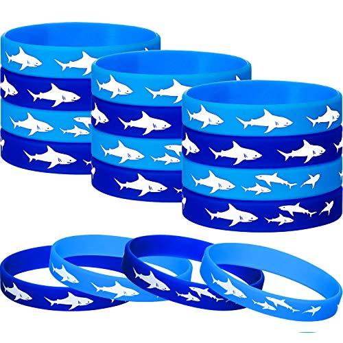meekoo Haifisch Party Gefälligkeiten Gummi Armbänder Armband, Unter dem Meer, Haifisch Geburtstag Party Gefälligkeiten Lieferungen Geschenk Dekorationen (12 Stücke)