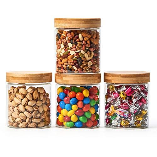 EZOWare 4er Set Glas Vorratsdosen, Vorratsgläser Lebensmittel Lagerung Behälter mit Bambus Aluminium Deckel for für Küche, Bad - 600ml