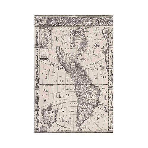 Wanderlust Decor Image of Antique Map America in 1600s World in Medieval Time Ancient Era Multior Gar Garden Flag for Garden Home and Outdoor Lawn -