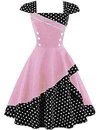 MisShow Damen 50er Hepburn Vintage Rockabilly Kleid Partykleider Petticoat  Swing Ärmellos Knielang Gr.S- 1cd8f91c23