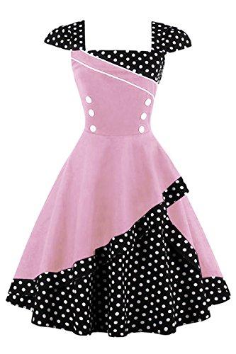 Vintage 50er jahre Cocktailkleid Kurzarm Abendkleid mit Punkte Rockabilly Swing Kleid Knielang (Rosa...