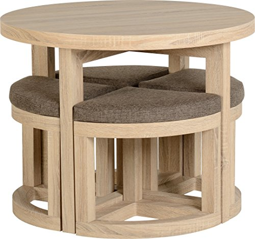 Home Eiche Design Ein (Seconique Cambourne Stowaway Esstisch mit 4braun Leinen Hocker-Sonoma Eiche Effekt/braun Leinen Fleck)