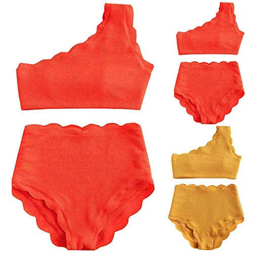 MRENVWS Lady Vintage High Waisted Swimsuit Two Pieces Scalloped Trim One Shoulder Bikini