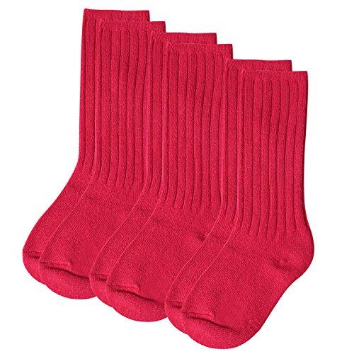 Aibrou Socken Kinder Wolle Winter Warm Kindersocken Strümpfe Knie Hoch mit Komfortbund Unisex 3er Pack Rot