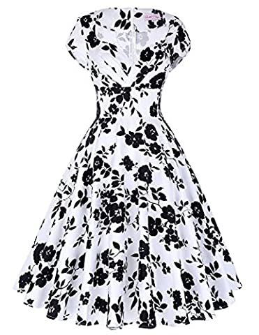 Belle Poque Women's 1950s Style Cap Sleeve Floral Vintage Wiggle Dress, Floral-6, Small