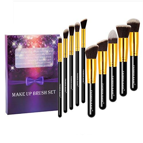Fashion Base® Professional Premium Kabuki Pinceaux de maquillage synthétique Set-10pcs Essential Prime Cosmetics Tools-face, poudre, contour, Surligneur, liquide, fond de teint, Correcteur, Ombres à paupières, brosse à sourcils kit Cadeau (Doré)