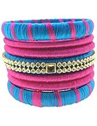 SURATNA Designer Handmade Traditional Wear Multi Color Thread Bangles 14 Pc Set For Girls & Women Sky Blue & Pink...