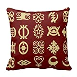KarilShop Adinkra , African Symbols,Africa,Wisdom red Linen Throw Pillow Case Cushion Cover Home Sofa Decorative 18 X 18 Inch.