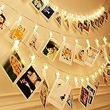 LUXMARS 20 LED foto clip luci stringa, luci stringa di Natale coperta per appendere foto immagini carte e memo, alimentato a batteria, regalo ideale (13FT)