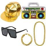 Aperil Hip Hop Kostüm Kit Herren 80er 90er Rapper für Zubehör Geburtstag Gefälligkeiten, Adult 80er Party Theme Dekor