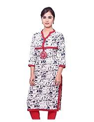 Adesa Women's Cotton Chikankari Regular Fit Kurti