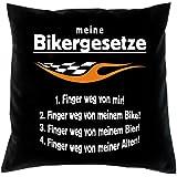 Kissenbezug - Meine Biker Gesetze - Kissen Bezug mit lustigem Spruch - Ideal als Geschenk zu Weihnachten für Leute mit Humor
