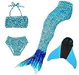 Superstar88 Meerjungfrau Badeanzug Mädchen Niedliche Meerjungfrau Kostüm 3pcs Bikini-Sets Kinder Schwimmflossen (140, Blau+flossen)