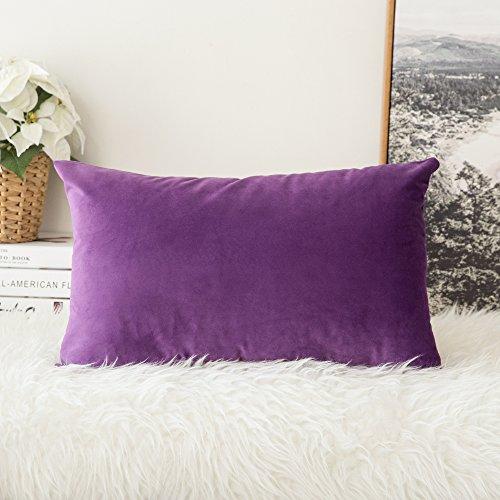 MIULEE Confezione da 1 Federa in Velluto Copricuscino Decorativo Fodera Quadrata per Cuscino per Divano Camera da Letto Casa Auto 30X50cm Viola