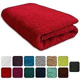 Lanudo® Luxus Duschtuch 600g/m² Pure Line 70x140 mit Bordüre. 100% feinste Frottier Baumwolle in höchster Qualität, Dusch-Handtuch, Badetuch, Badelaken. Farbe: Rot
