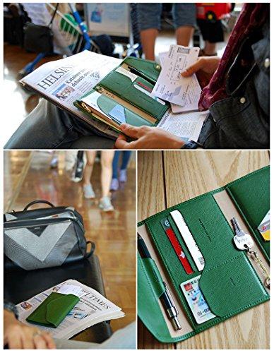 WITERY in pelle PU multifunzione, pieghevole per badge/carta di identità, carte di credito/biglietti da visita e passaporto-Custodia a portafoglio, ecc., marrone (Marrone) - CLOA0003-02 verde
