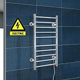 HOMCOM Stainless Steel Electric Heated Warmer Radiator Wall Mount Towel Rail Bathroom