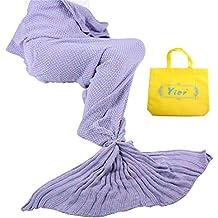 Yier® Mermaid Tail Adult manta crochet Adolescentes sofá de la sala sofá súper suave mantas