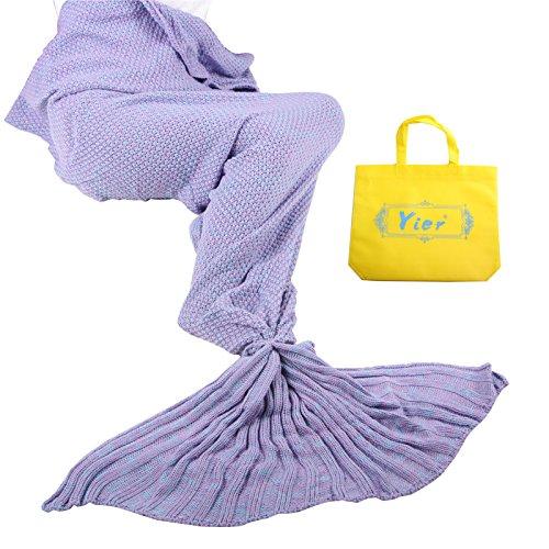 Yier ® Mermaid Tail Adult Decke Häkeln Teens Jugendliche Wohnzimmer Sofa super weiche Decken Schlafsäcke-Licht lila