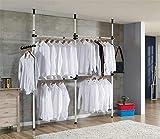 Cocoarm Teleskop Garderoben System Kleideraufbewahrungssystem Regalsystem Garderoben System Verstellbares Ordnungssystem 3 Stangen, 4 Querträger, Höhe verstellbar 160–320 cm