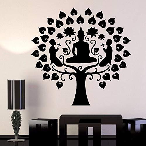 57x56 cm Vinyl Wandtattoo Abnehmbare Buddhismus Buddha Stil Wandkunst Meditation Baum Wandaufkleber Home Schlafzimmer Decor Buddha Baum Kunst