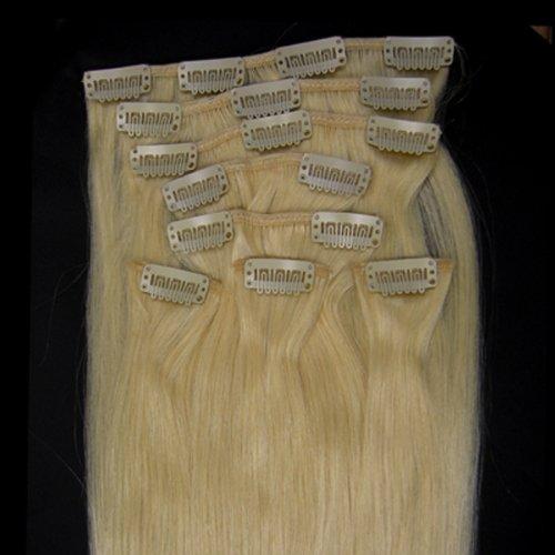 38,1 cm Eau de Javel blond (# 613) 100% Remy Hair Lot de 8 extensions capillaires à clipser 100 g poids