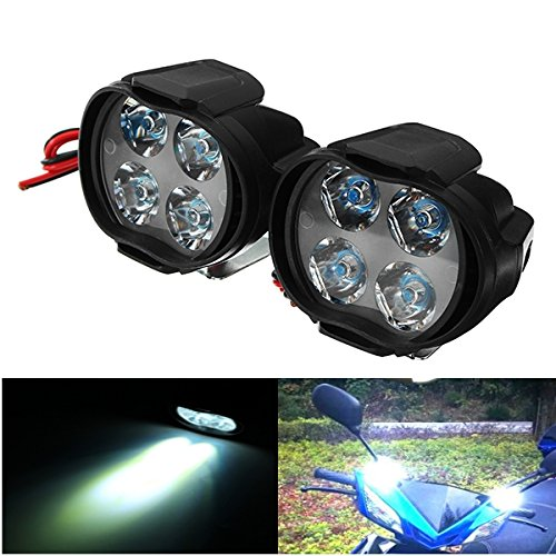 ILS - Pair 9-85V 1000lm 8W Motor Bike Headlamp Bicycle Scooter ATV Spotlight Black IP65