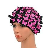 medifier Vintage Swim Cap Blumenmuster Retro-Stil Badehaube für Damen, rosarot