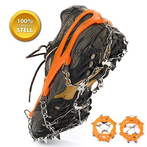 SehrGo Unisexe multifonction antidérapant Ice Semelle de chaussures à crampons Grips Traction Crampons Chaîne Spike 1 paire (8-Crampon (Pointure: W 5-12 / M 6-10.5) Orange)