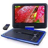ieGeek Lecteur DVD Portable 11.5' avec Écran Pivotant, Batterie Rechargeable de 5 Heures Jouer, Supporte Carte SD et Chargeur de Voiture Compatible avec MP3 / MP4 / AVI / RMVB / JPEG / TXT – Bleu