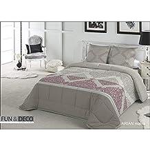 Fundeco.- Comforter edredon acolchado Arian Malva 270 x 260 cm + 2 fundas de