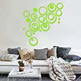 Circle DIY Wall Stickers - OMGAI Removable Round Acrylic Wall Decals for Nursery Home and Kitchen Decoration, 24pcs Green