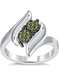 Silvernshine 3.5Ct Round Cut Sim Peridot Diamonds 14K White Gold Plated Engagement & Wedding Ring