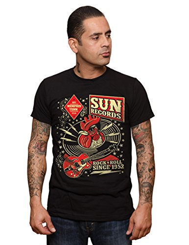 STEADY CLOTHING Sun Record Hop T-Shirt Homme, Noir, FR (Taille Fabricant : XL)