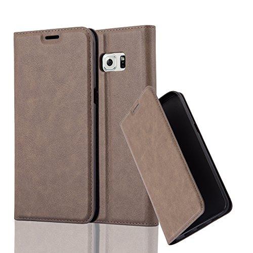 Cadorabo Hülle für Samsung Galaxy S6 Edge Plus - Hülle in Kaffee BRAUN - Handyhülle mit Magnetverschluss, Standfunktion & Kartenfach - Case Cover Schutzhülle Etui Tasche Book Klapp Style