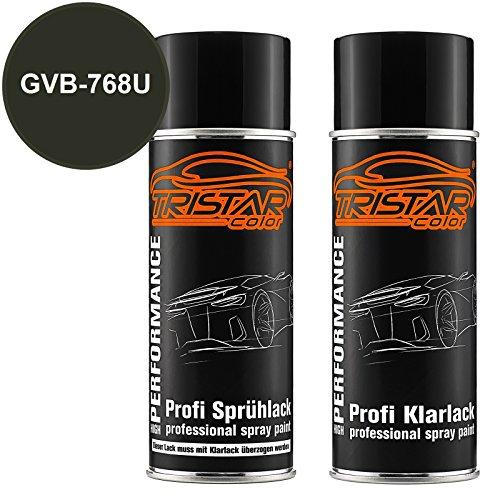 TRISTARcolor Autolack Spraydosen Set für Buick/Cadillac/Chevrolet/Corvette GVB-768U Verde Lotus Perl/Lotus Green Perl Basislack Klarlack Sprühdose 400ml