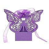 Trifycore 50 PCS Laser-Schnitt-Schmetterlings-Hochzeit Box-Geburtstags-Party-Geschenke Konfektschachteln (lila), DIY & Tools Zubehör